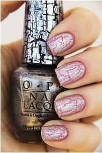 Pink nail polish with silver OPI shatter polish as a top coat